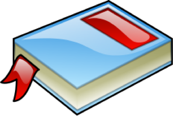 600x403 Blue Book With Red Bookmark Clip Art