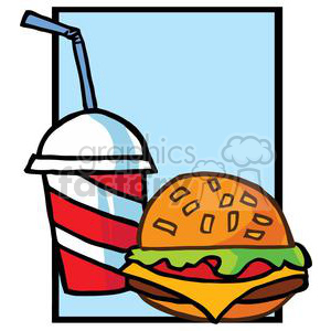 300x300 Royalty Free Fast Food Hamburger And Drink On Blue Background