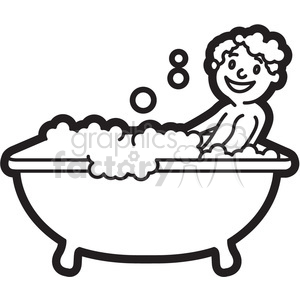 300x300 Royalty Free Boy Taking A Bath Black And White Outline 397938