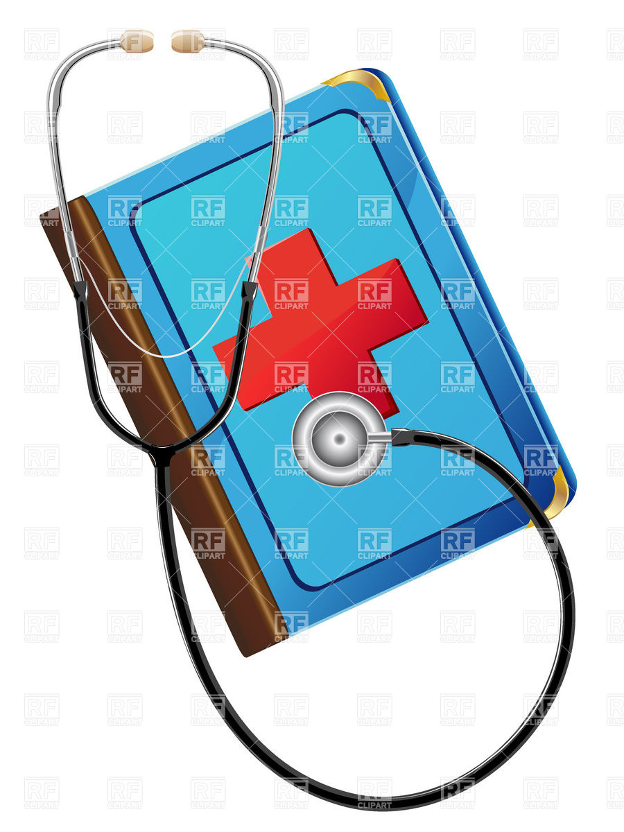 900x1200 Medical Book And Stethoscope Royalty Free Vector Clip Art Image
