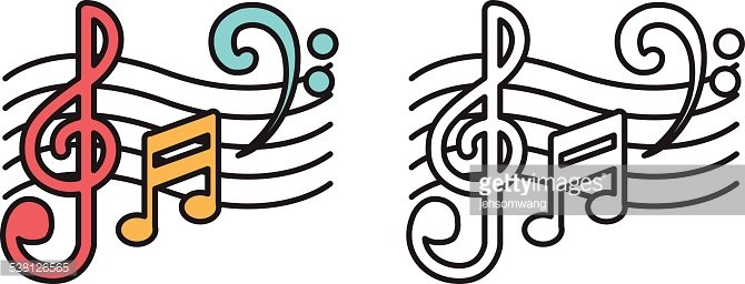 670x256 Colorful And Black And White Music Notes For Coloring Book Premium