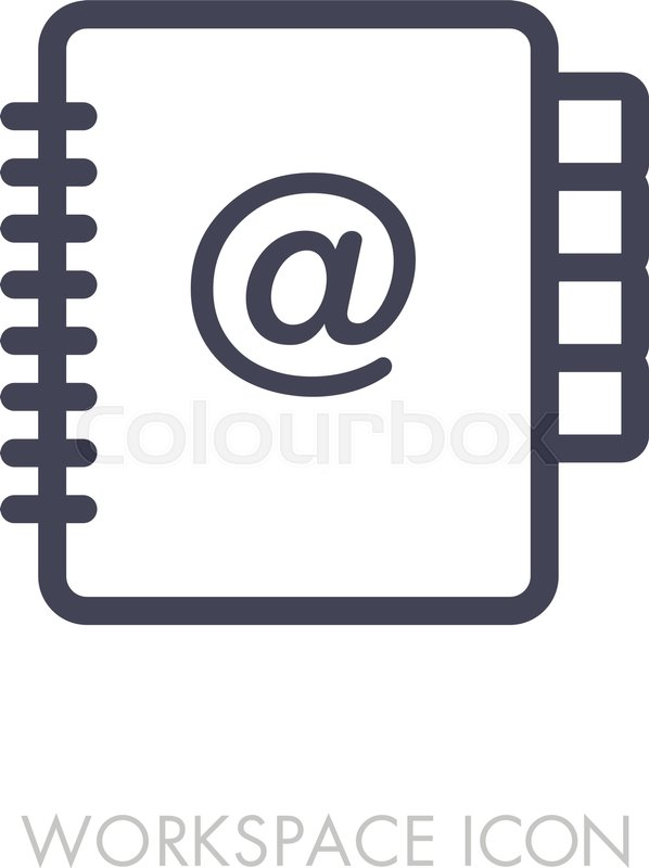 598x800 Address Book Outline Icon. Workspace Sign. Graph Symbol For Your