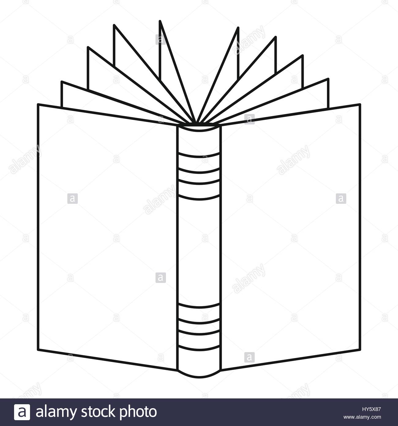 1300x1390 Open Thick Book Icon, Outline Style Stock Vector Art