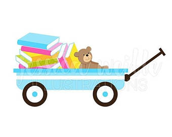340x270 Sale Pink Wagon Of Books Cute Digital Clipart, Book Wagon Clip Art