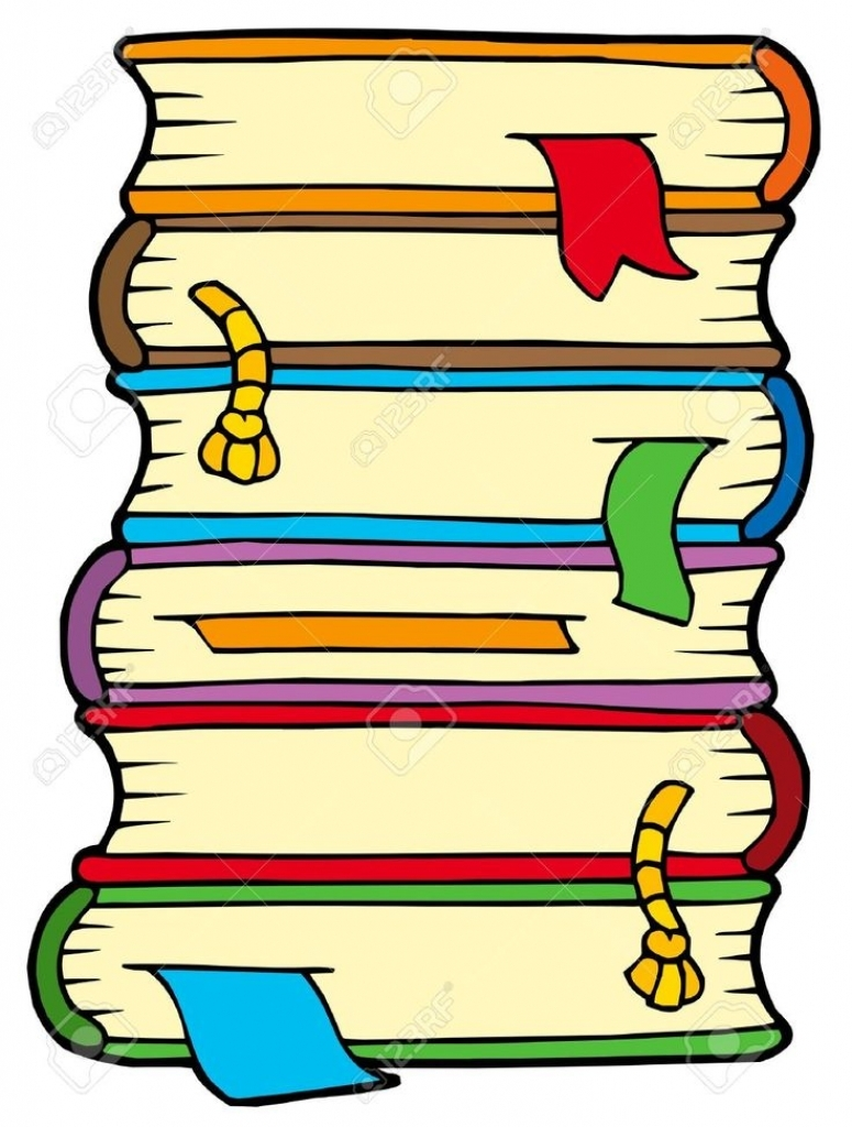 775x1024 Cartoon Stack Of Books Clipart 2