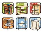 151x114 Book Shelf Clip Art Cartoon Illustration Stock Vectors