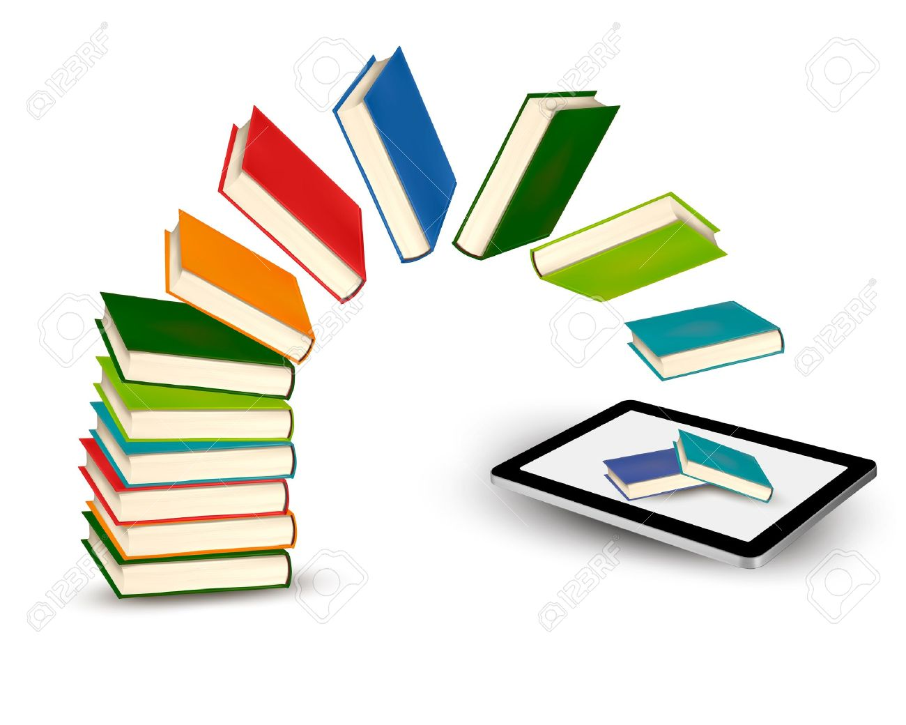 1300x1040 Books Flying In A Tablet Illustration Royalty Free Cliparts