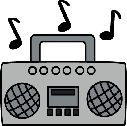 414x410 Boombox With Music Notes Clip Art
