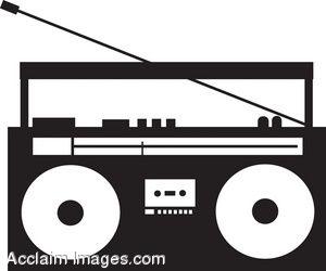 300x250 Clip Art Of A Boom Box Stereo