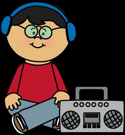 435x470 Kid Listening To Boombox Clip Art