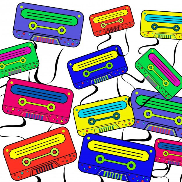 626x626 Retro 80's Background Wallpaper With Colorful Boombox. Vector