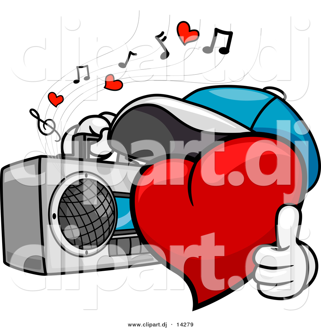 1024x1044 Vector Clipart Of A Cartoon Heart Character Listening To Music