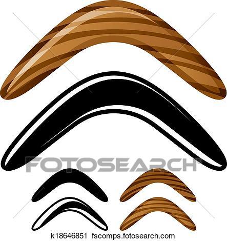 03068b5631f 443x470 Clipart Of Vector Wooden Australian Boomerang Icons K18646851
