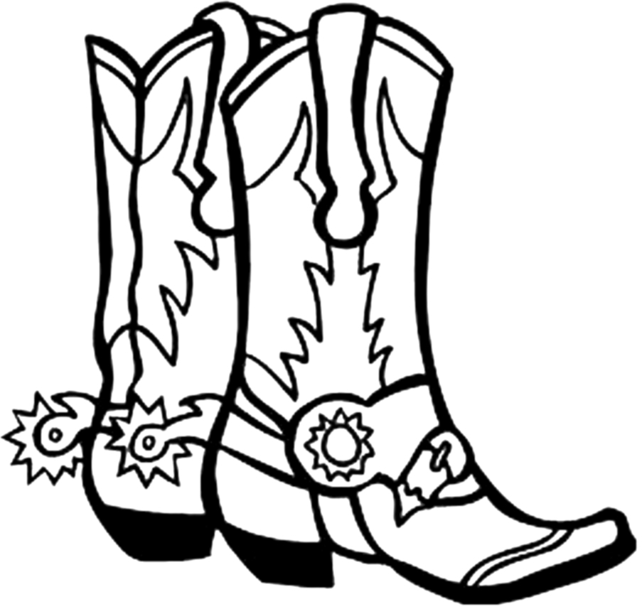 903x857 Cowboy Boots Clipart Black And White Free