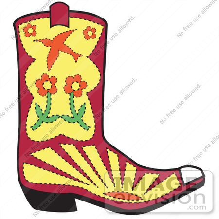 450x450 Royalty Free Cartoon Clip Art Of A Red Cowgirl Boot With A Flower