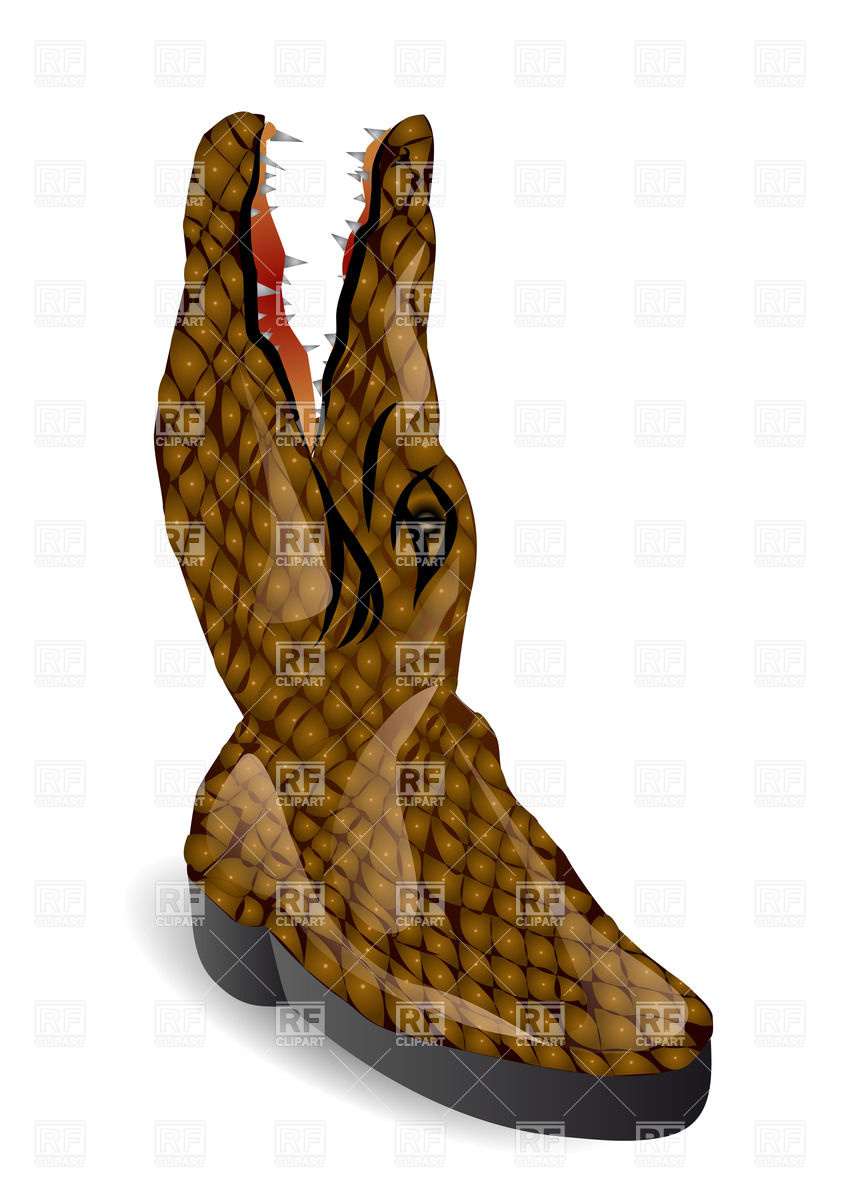 848x1200 Stylized Boot Made Of Crocodile Royalty Free Vector Clip Art Image