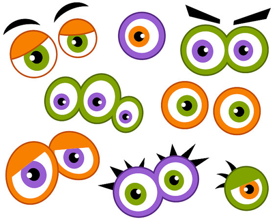 570x453 Monster Eyes Digital Clip Art, Cute Monster Eyes, Halloween