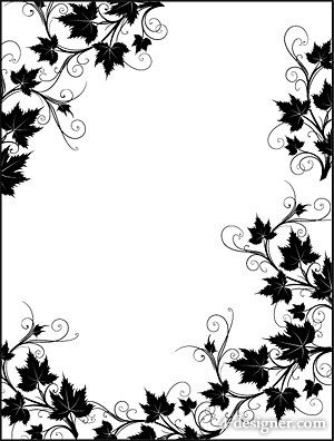 300x396 4 Designer Black and white rattan plant lace border vector material