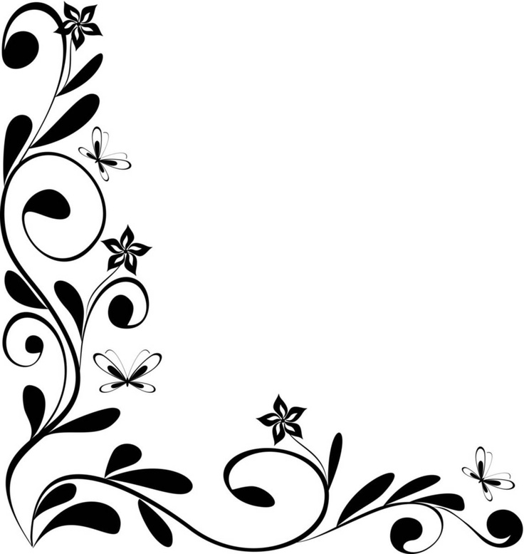 736x777 Flower Design Border Black And White