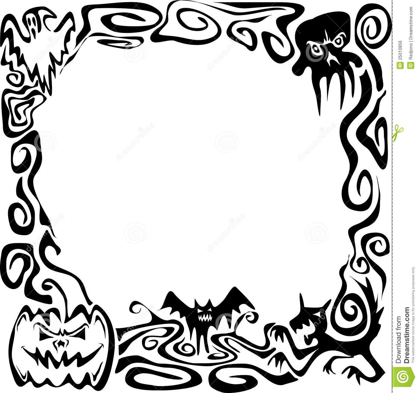 1387x1300 Halloween Border Black And White Photo Album