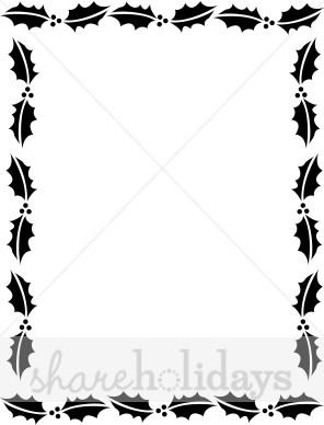 296x388 Holly Christmas Letter Frame in Black and White Christmas Borders
