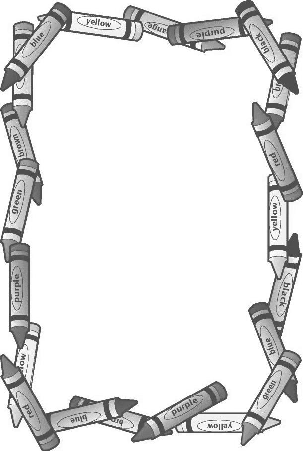 611x910 Printable Black Amp White Crayon Border