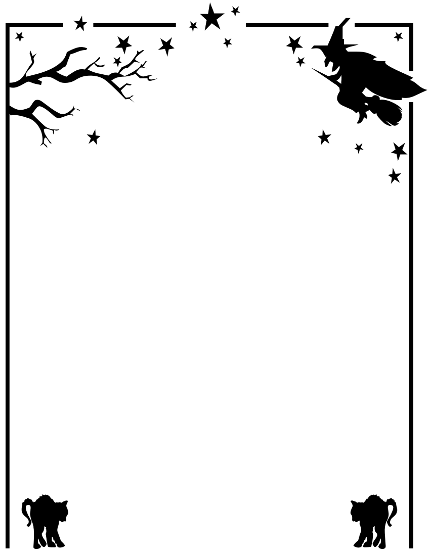 850x1100 Halloween Clipart Free Black And White Border