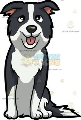 271x400 A Nice Border Collie Puppy With A Town Hall Background Cartoon
