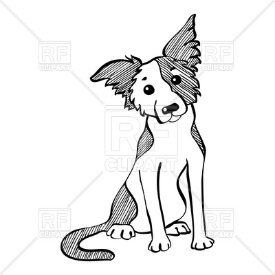 400x400 Funny Dog Border Collie Breed Royalty Free Vector Clip Art Image