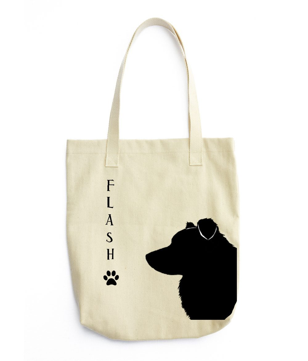 1000x1174 Border Collie Silhouette Extra Large Reusable Cotton Canvas Tote