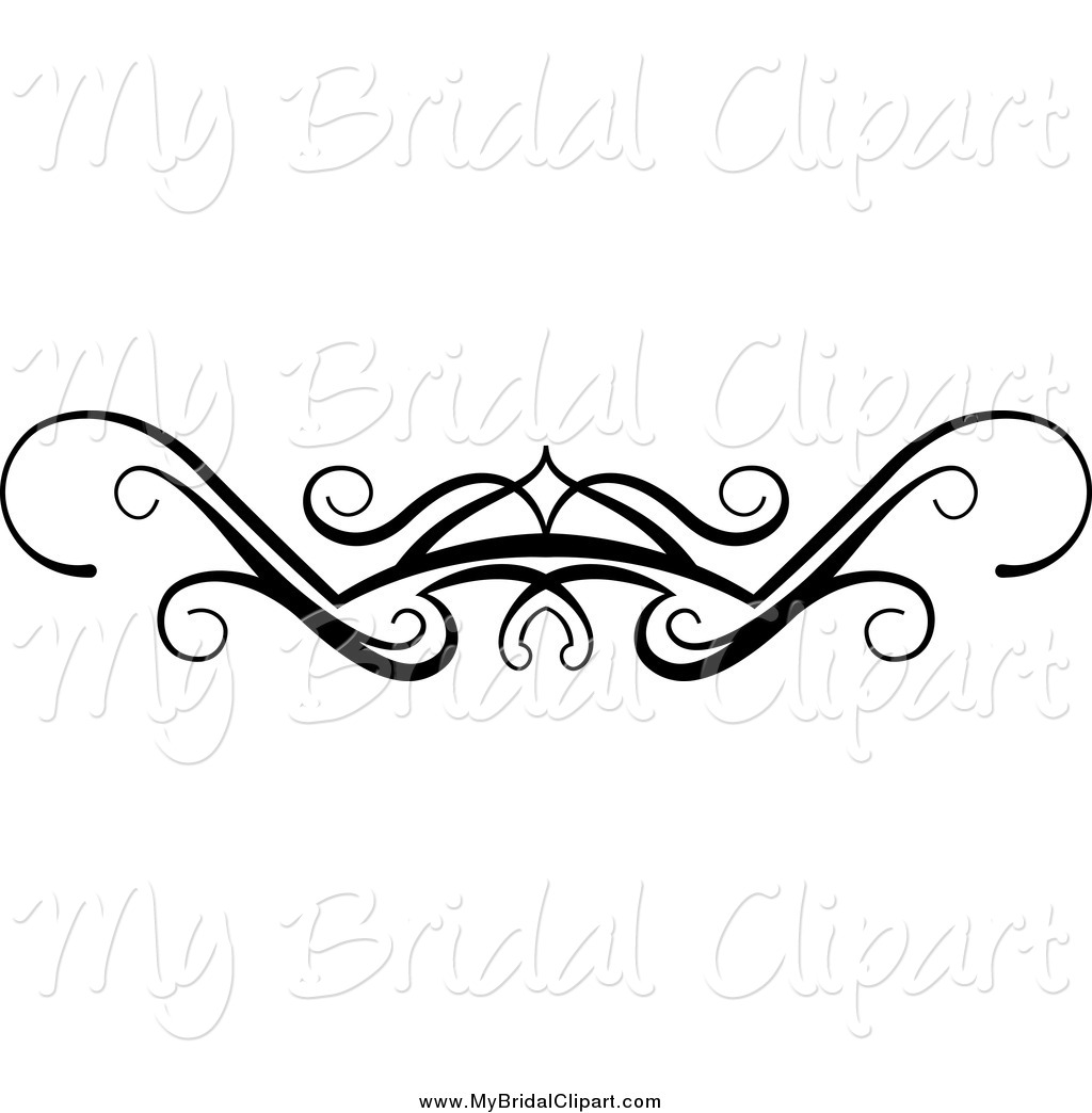 1024x1044 Bridal Clipart of a Black and White Swirl Wedding Flourish Design