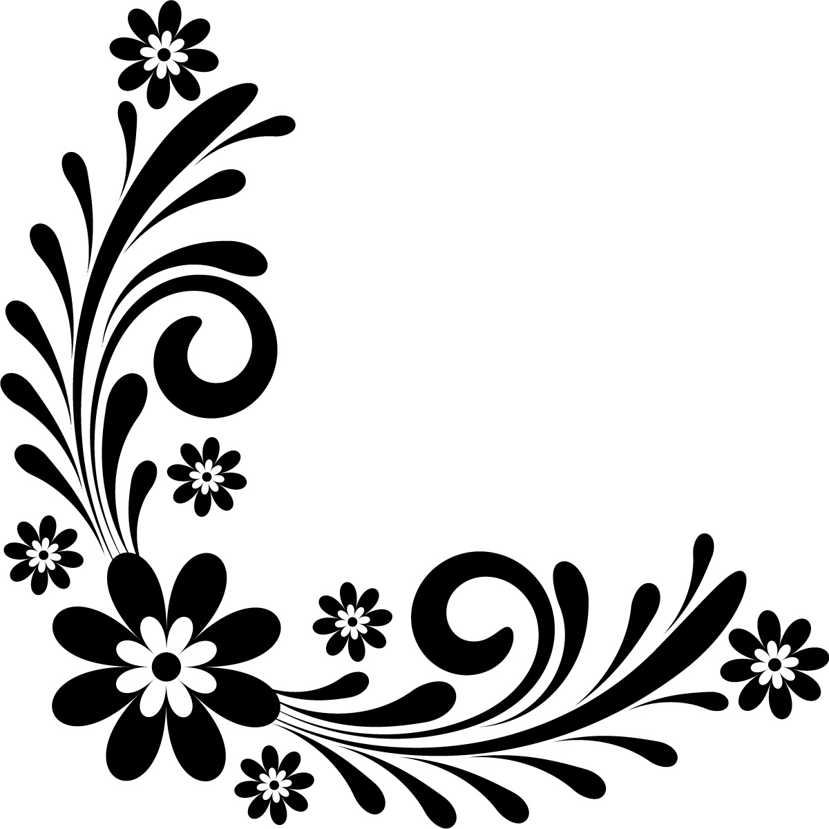1200x1200 Page Border Designs Flowers Black And White