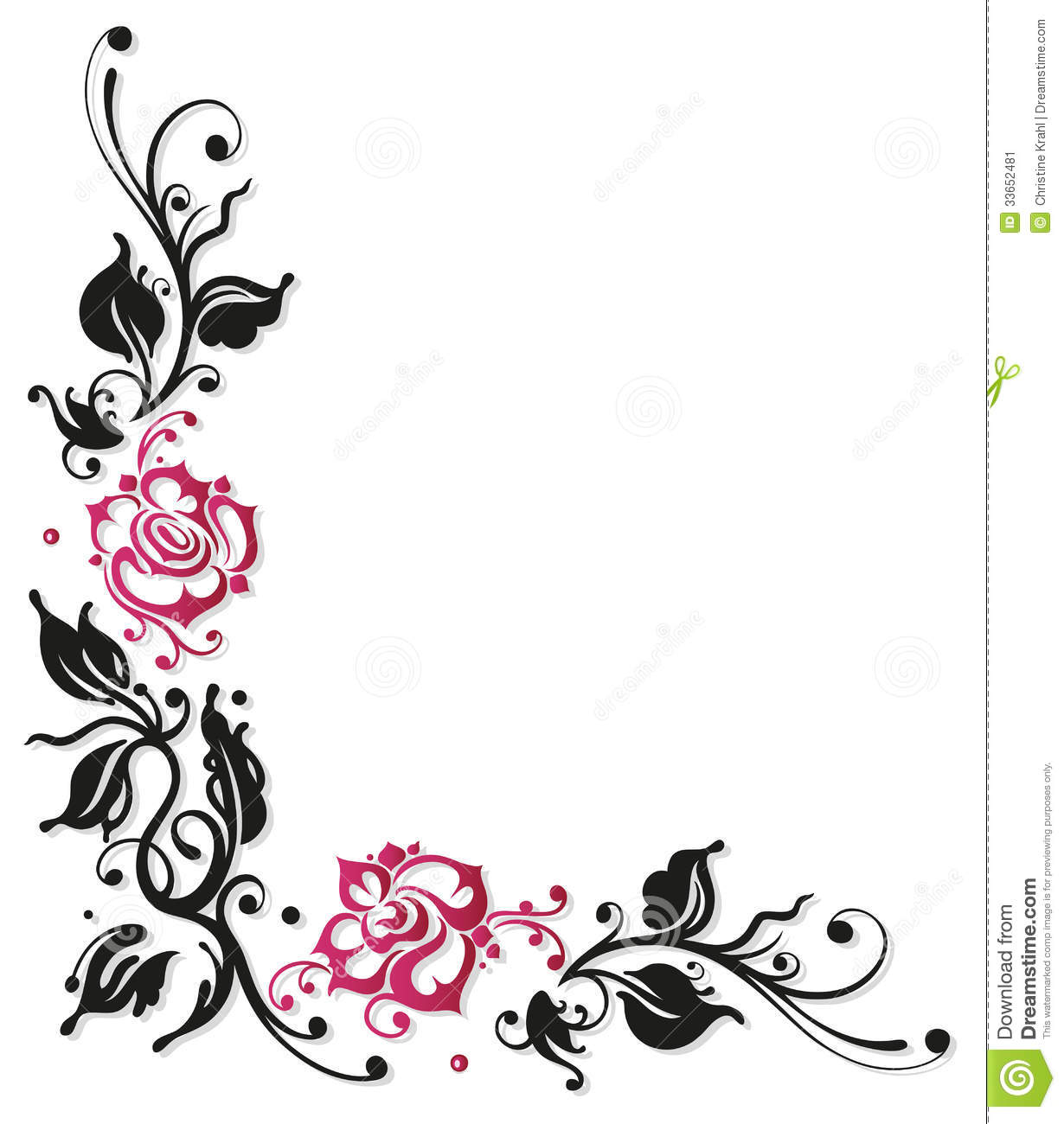 1230x1300 Black And White Flowers Borders Clipart