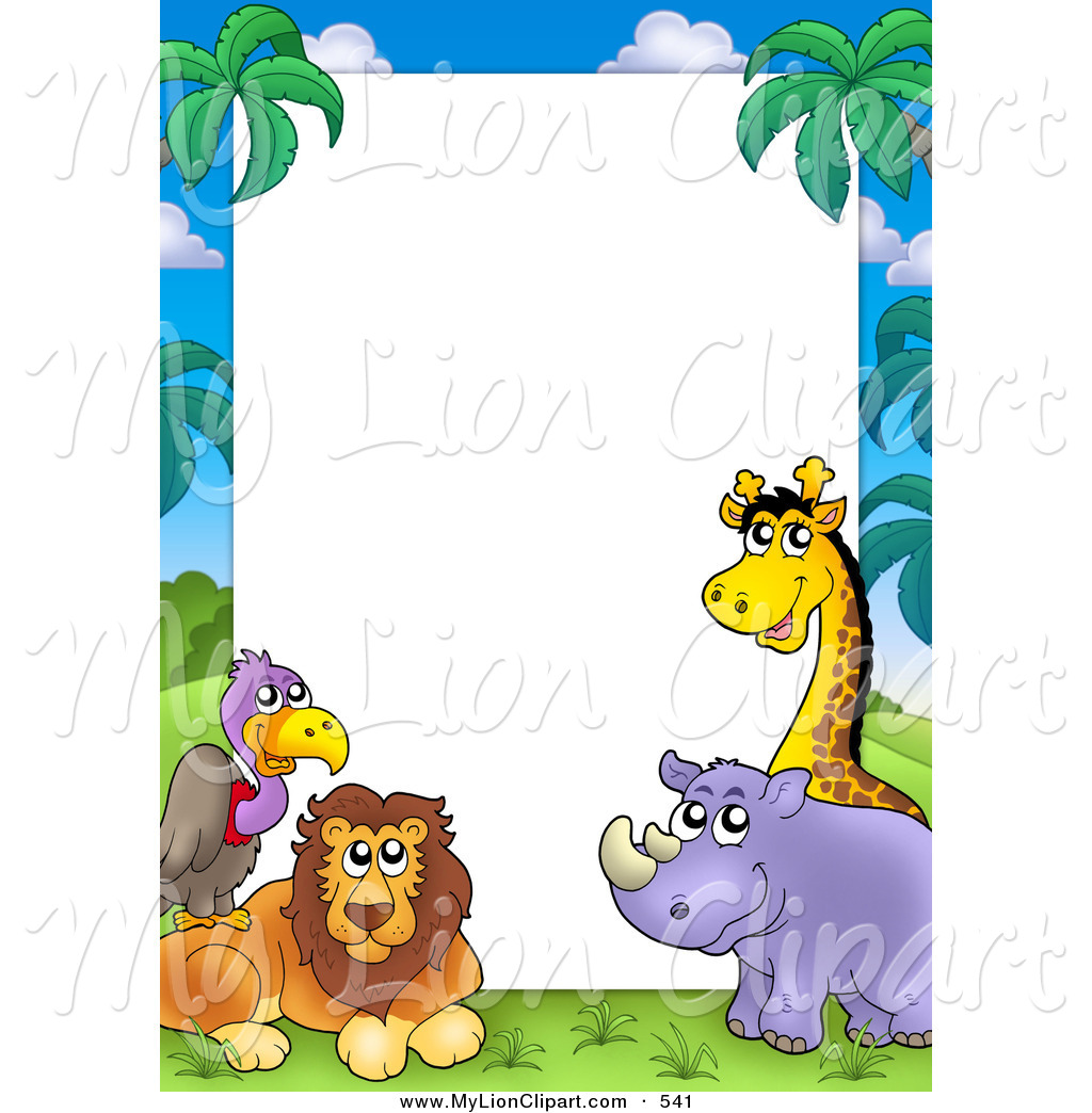 1024x1044 Clipart of a Pretty Border Frame of a Vulture, Lion, Rhino and