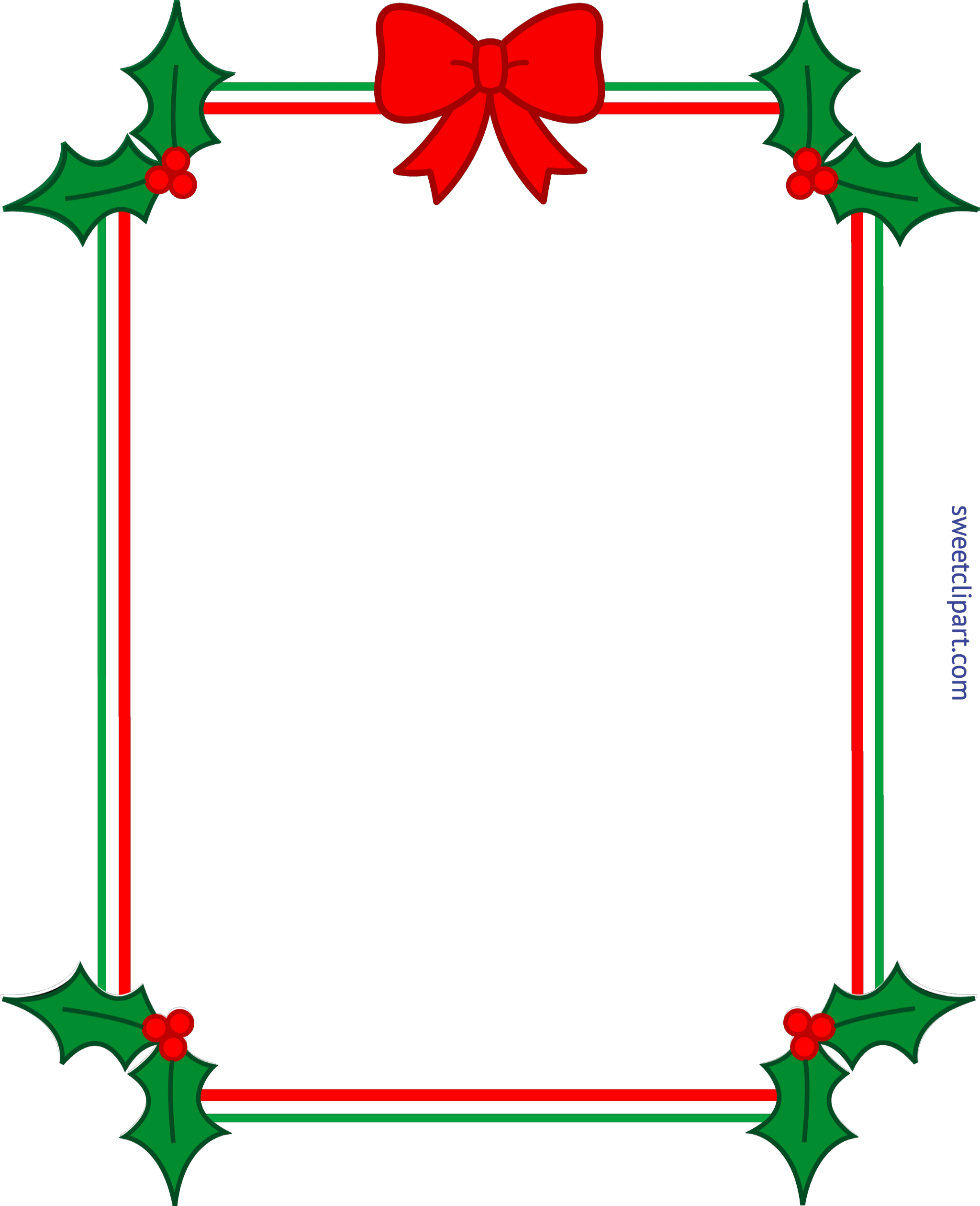 7018x8636 Christmas Border Frame Holly Ribbon Clip Art