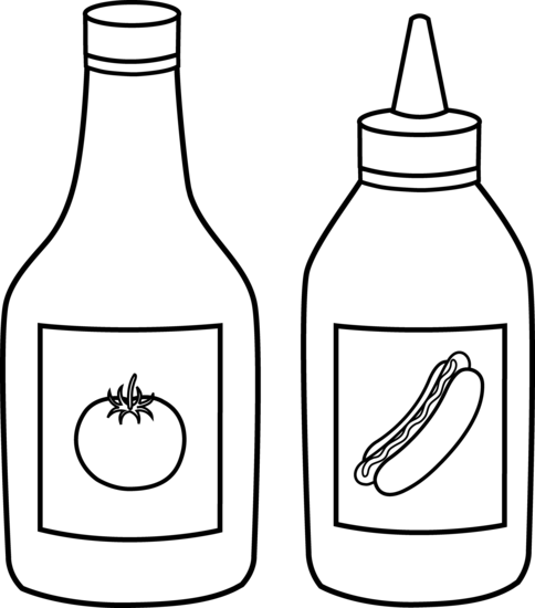 484x550 Ketchup Clipart Black And White