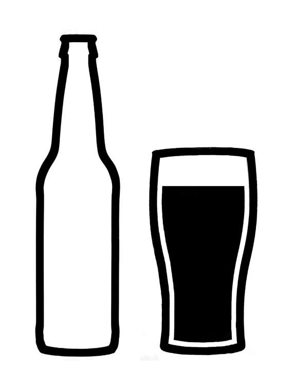 570x763 Beer Bottle Black And White Clip Art