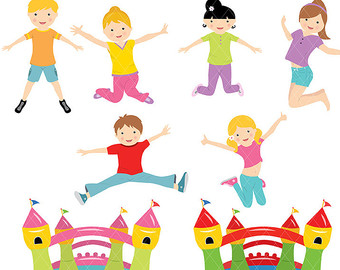 340x270 Bounce House Girls Cute Digital Clipart Commercial Use Ok