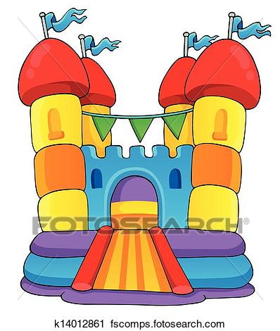 398x470 Clip Art Of Bounce House K2387349