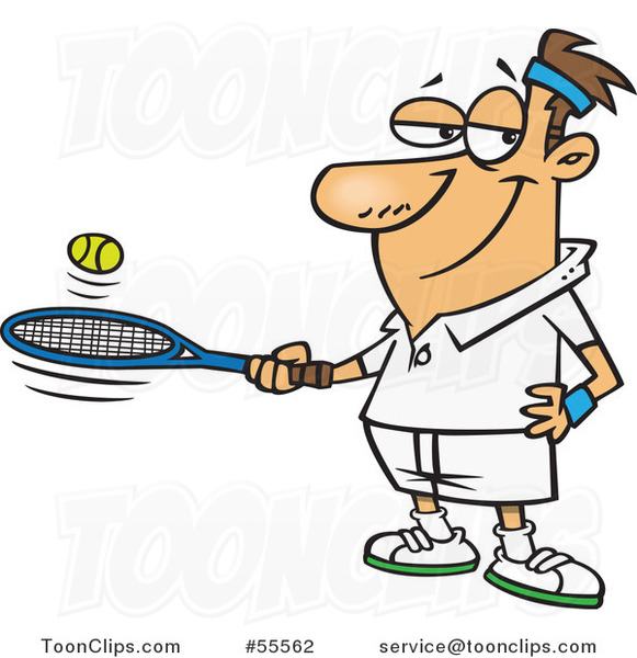 581x600 Cartoon White Guy Bouncing A Ball On His Tennis Racket