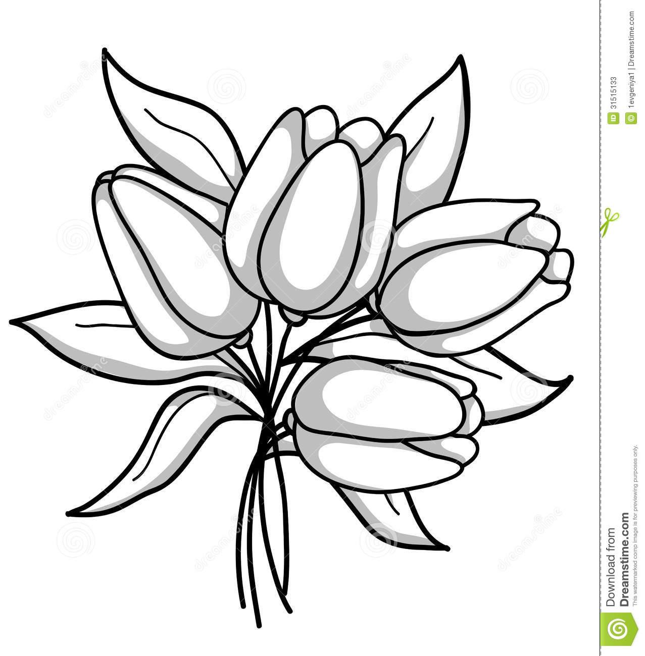 1277x1300 Flower Bouquet Clip Art Black And White