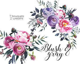 340x270 Purple Peonies Roses Clipart Watercolor Floral Bouquets Violet