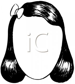 311x350 Picture Of A Girls Long Black Hair With A Bow In A Vector Clip Art