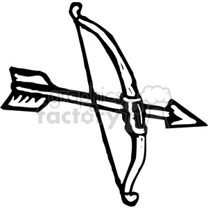 300x300 Royalty Free Black And White Bow And Arrow 173681 Vector Clip Art