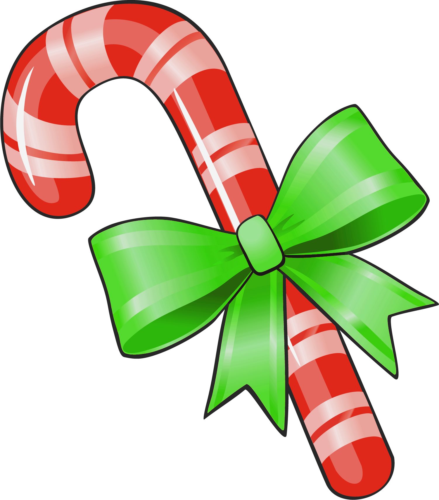 1502x1708 Transparent Christmas Candy Cane With Green Bow Clipart Image