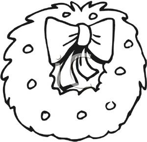 300x291 Free Clipart Image Black And White Wreath With A Bow