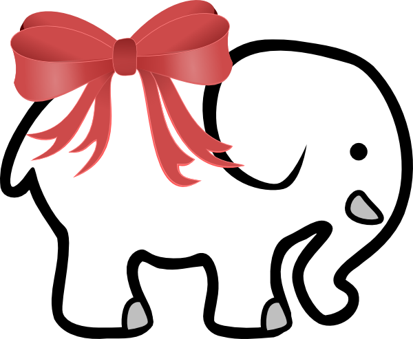 600x493 White Elephant With Red Bow Clip Art