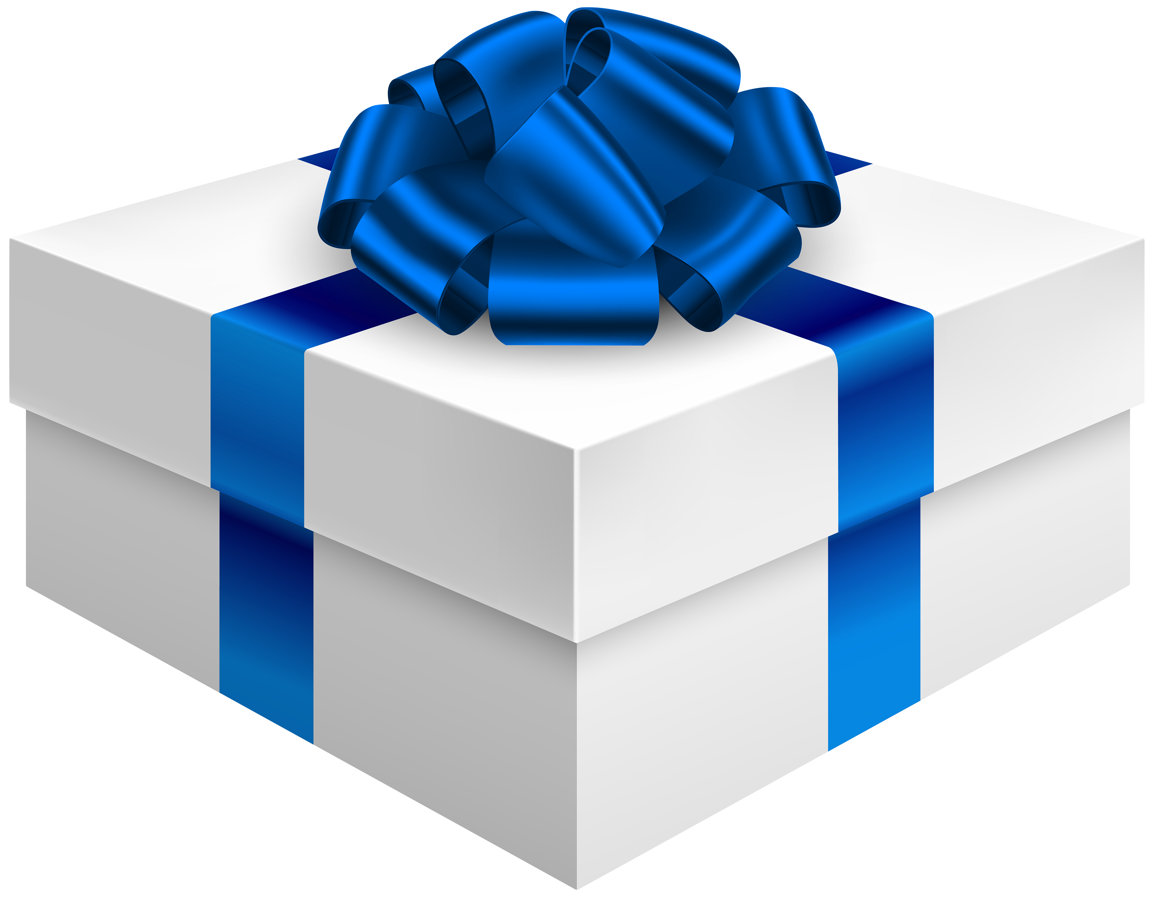 4000x3107 Gift Box with Dark Blue Bow PNG Clipart