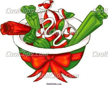 375x295 Bowl Of Christmas Candy Vector Clip Art