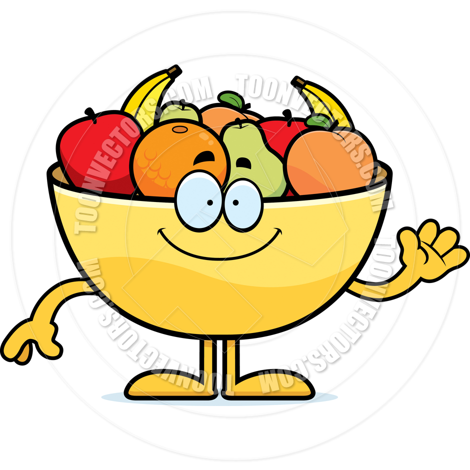 940x940 Cartoon Bowl Of Fruit Waving By Cory Thoman Toon Vectors Eps